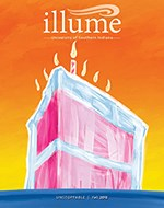 Fall 2019 Illume Cover - Painted birthday cake with 7 candles visible, bright orange background