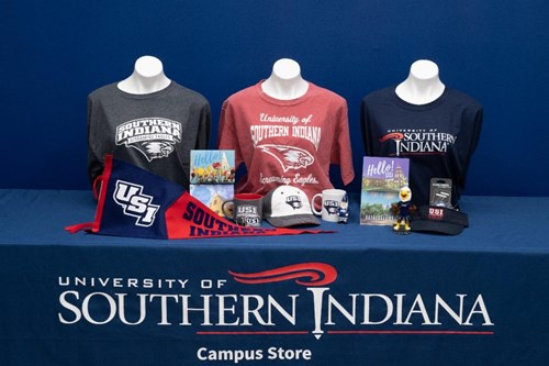 Variety of items available at the Campus Store, including t-shirts, hats and mugs