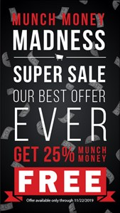Munch Money Madness Super Sale poster with details about promotion listed in text